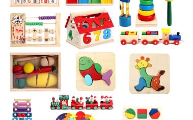 Dřevěné vzdělávací hračky pro děti - různé varianty