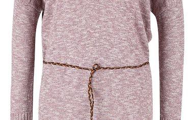 Růžové žíhané úpletové šaty s páskem Ragwear Port