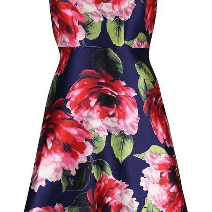 Tmavě modré šaty s růžovými květy AX Paris