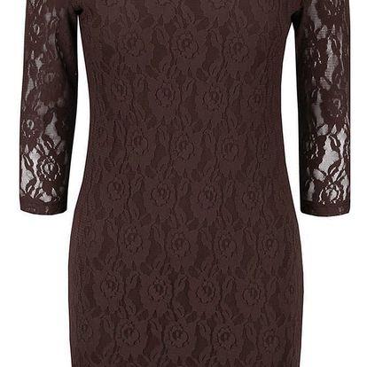 Tmavě hnědé krajkové šaty s dlouhým rukávem VERO MODA Lilly