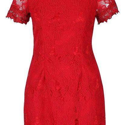 Červené krajkové šaty s krátkým rukávem AX Paris