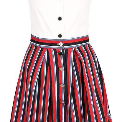Krémové šaty s pruhovanou sukní Closet