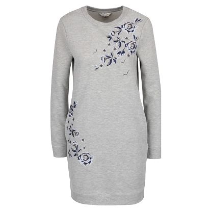 Šedé mikinové šaty s výšivkou květin Miss Selfridge