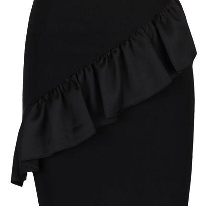 Černá krátká sukně s volánem Miss Selfridge