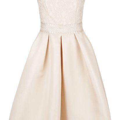 Béžové šaty s krajkovým živůtkem Little Mistress