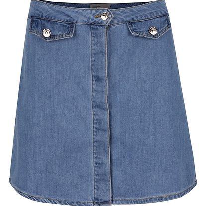 Modrá džínová sukně s falešnými kapsami VERO MODA Gracie
