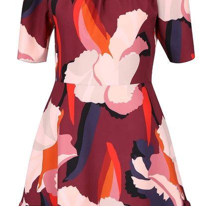 Krémovo-vínové vzorované šaty s volánem Closet