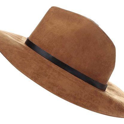 Hnědý klobouk v semišové úpravě Pieces Bella
