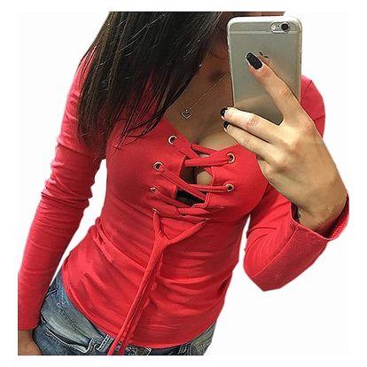 Dámské triko s dlouhým rukávem a šněrováním - 5 barev