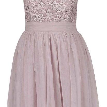 Starorůžové šaty s krajkovým topem Little Mistress