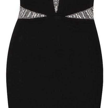 Černé šaty se zdobenými klíny Goddiva