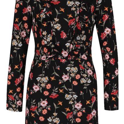 Černé květinové krepové šaty s volánky Miss Selfridge