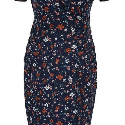 Tmavě modré těhotenské/kojící šaty s motivem květin Dorothy Perkins Maternity