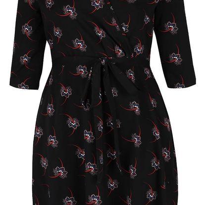Černé vzorované šaty s překládaným výstřihem Dorothy Perkins Curve