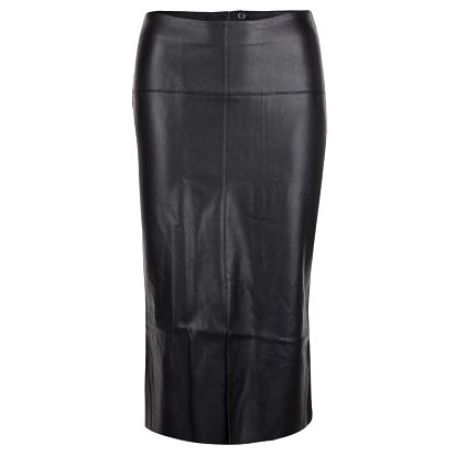 Černá koženková midi sukně s rozparkem Dorothy Perkins