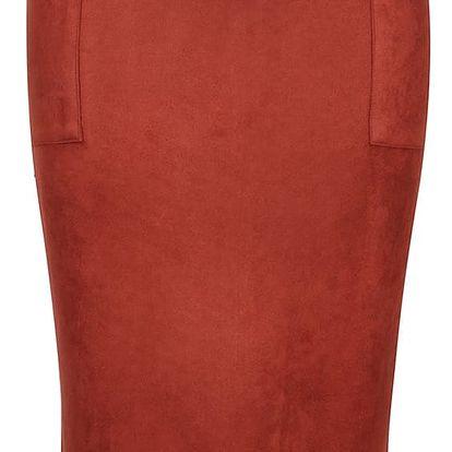 Cihlová pouzdrová semišová sukně s kapsami Dorothy Perkins