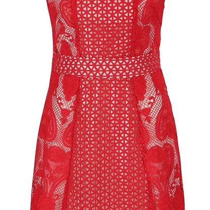 Krémovo-červené krajkové šaty Wolf & Whistle