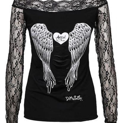 Dámské tričko s andělskými křídly a dlouhými krajkovými rukávy
