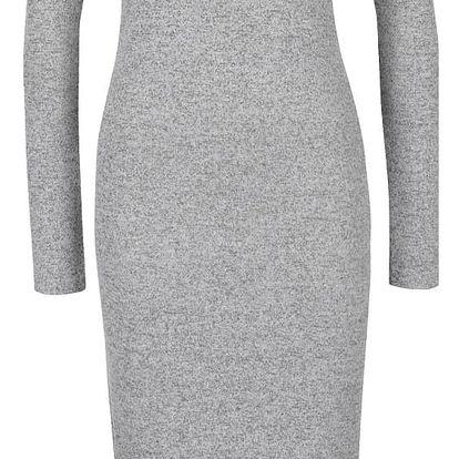 Světle šedé žíhané dámské delší svetrové šaty s dlouhým rukávem Broadway Serena
