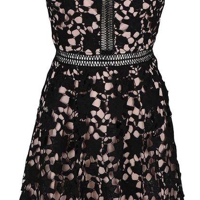 Černé krajkové šaty s hlubokým výstřihem na zádech Apricot