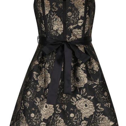 Černé šaty s květy ve zlaté barvě Dorothy Perkins