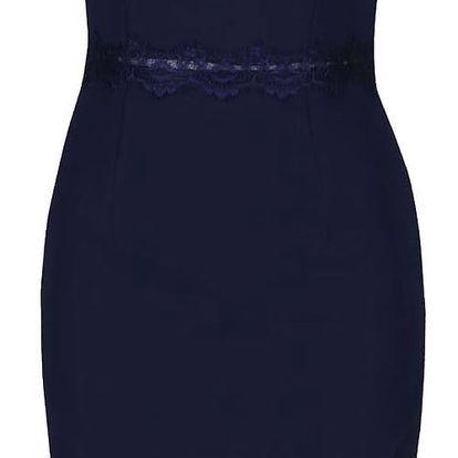 Tmavě modré šaty s krajkovým dekoltem Little Mistress