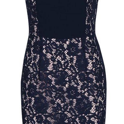 Tmavě modré krajkové šaty s krátkým rukávem Dorothy Perkins