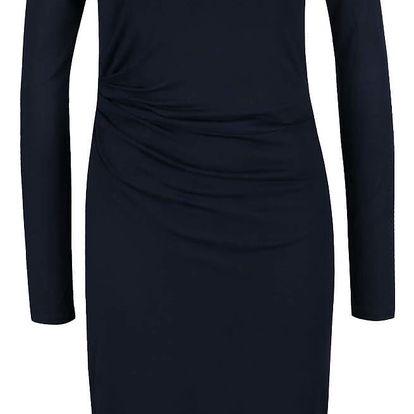 Tmavě modré šaty s řasením Selected Femme Tina