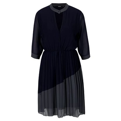 Šedo-modré šaty s plisovanou sukní Alchymi Josie