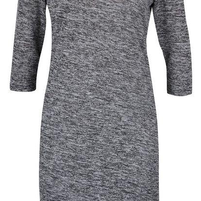 Tmavě šedé žíhané šaty s 3/4 rukávy PEP Faustine