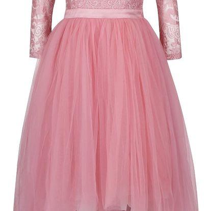 Růžové šaty s 3/4 rukávem a krajkovým topem Chi Chi London