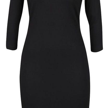 Černé přiléhavé šaty s 3/4 rukávy Fever London Gretta