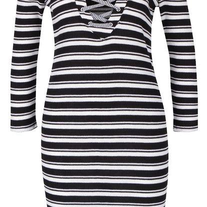 Krémovo-černé pruhované šaty se šněrováním v dekoltu VERO MODA Seduno
