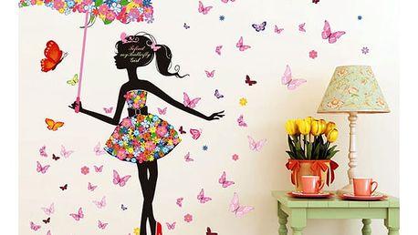 Samolepka na zeď - dívka s květinovým deštníkem