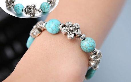 Vintage náramek s modrými korálky