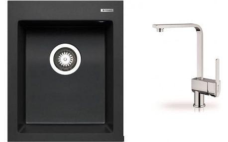 Istros - Granitový dřez 41x50 (černá) + baterie Espressivo