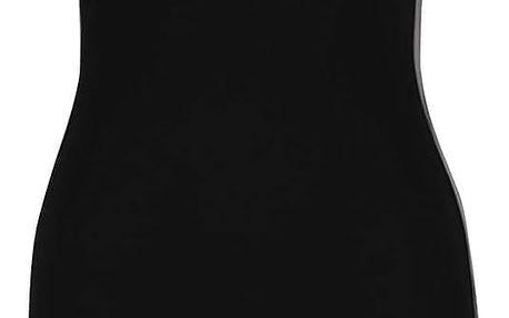 Černé šaty bez rukávů s koženkovými detaily TALLY WEiJL