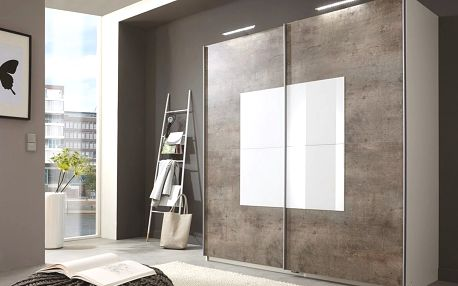Šatní skříň TARO 771 beton/bílá