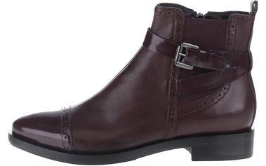 Vínové kožené kotníkové chelsea boty Geox Donna Brogue