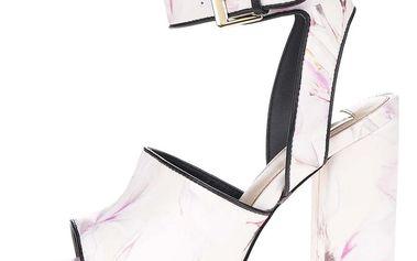 Krémové vzorované sandály na vysokém podpatku Miss Selfridge