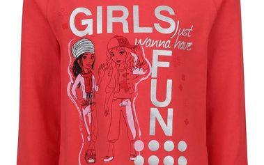 Červené holčičí tričko s dlouhým rukávem a potiskem LEGO Wear Tallys