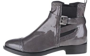 Tmavě šedé kožené kotníkové chelsea boty Geox Donna Brogue