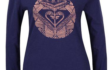 Tmavě modré tričko s potiskem a dlouhým rukávem Roxy Tonikdancingon
