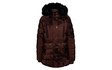 Hnědá vzorovaná bunda s kapucí Desigual Marlene