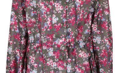 Khaki dámská lehká nepromokavá parka s motivem květin Tom Joule Golightly