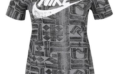 Černo-šedé dámské tričko s krátkým rukávem Nike