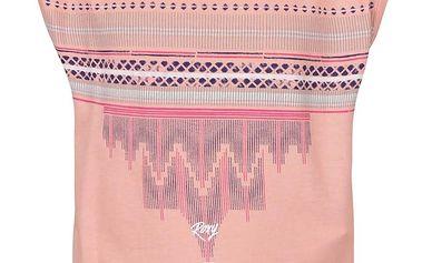 Meruňkové holčičí tričko bez rukávů se vzorem Roxy