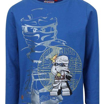 Modré klučičí triko s dlouhým rukávem a potiskem LEGO Wear Teo