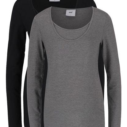 Sada dvou triček s dlouhým rukávem v černé a šedé barvě Mama.licious Lea