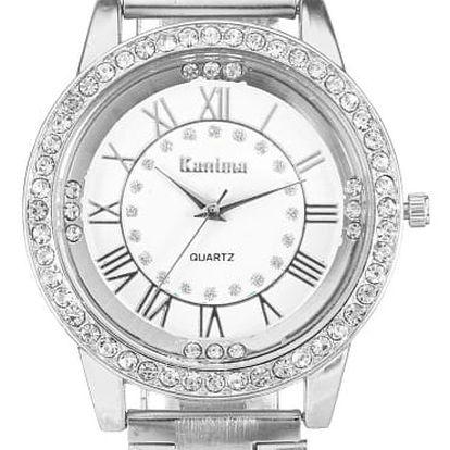 Dámské náramkové hodinky se zdobením z čirých kamínků - stříbrná barva - dodání do 2 dnů